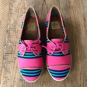 Dolce Vita Pink & Blue Canvas Lace-up Oxfords